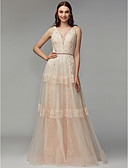 ราคาถูก Special Occasion Dresses-A-line คอวี ลากพื้น ลูกไม้ / Tulle ทางการ แต่งตัว กับ ของประดับด้วยลูกปัด / เข็มกลัด โดย TS Couture®