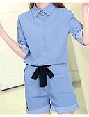 ราคาถูก จั๊มสูทและเสื้อคลุมสำหรับผู้หญิง-สำหรับผู้หญิง ทุกวัน สีน้ำเงิน Romper Onesie, สีพื้น S M L ฝ้าย ครึ่งแขน