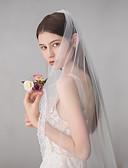 ราคาถูก ม่านสำหรับงานแต่งงาน-ชั้นเดียว หวาน ผ้าคลุมหน้าชุดแต่งงาน ผ้าคลุมศรีษะสำหรับชุดแต่งงาน กับ ตะเข็บ 45.28นิ้ว (115ซม.) ฝ้าย / ไนลอนด้วยคำแนะนำของการยืด / คลาสสิก
