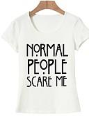 billige T-skjorter til damer-Bomull T-skjorte Dame - Bokstaver, Trykt mønster Grunnleggende Ut på byen Hvit