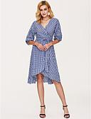 billige Uformelle kjoler-Dame Gatemote Skjede Kjole - Rutet, Trykt mønster V-hals Midi Blå