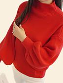 billige Badedrakter-Dame Jul / Daglig Grunnleggende Ensfarget Langermet Normal Pullover Genserjumper, Rund hals Høst Svart / Hvit / Rød En Størrelse
