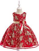 Χαμηλού Κόστους Λουλουδάτα φορέματα για κορίτσια-Παιδιά Κοριτσίστικα Ενεργό Γλυκός Πάρτι Αργίες Μονόχρωμο Κεντητό Αμάνικο Ως το Γόνατο Φόρεμα Πράσινο του τριφυλλιού / Βαμβάκι