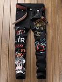 ราคาถูก กางเกงผู้ชาย-สำหรับผู้ชาย Street Chic ไปเที่ยว เพรียวบาง กางเกง Chinos กางเกง - รูปเรขาคณิต ลายพิมพ์ ฤดูใบไม้ผลิ ตก สีดำ 34 36 38