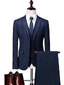billige Herreblazere og dresser-Svart / Mørk Marineblå Mønstret Standard Polyester Dress - Med hakk Enkelt Brystet To-knapp / drakter