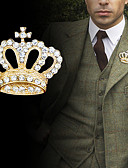 billiga Slipsar och flugor-Herr Kubisk Zirkoniumoxid Broscher Retro Trendig Kreativ Krona Lyx Mode Brittisk Brosch Smycken Guld Silver Till Party Dagligen