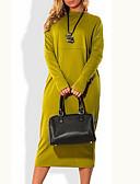 baratos Vestidos Suéter-Mulheres Tamanhos Grandes Básico Vestido Sólido Médio