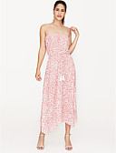 Χαμηλού Κόστους Print Dresses-Γυναικεία Πάρτι Παραλία Λεπτό Θήκη Φόρεμα Μίντι Στράπλες / Φλοράλ / Sexy