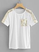 ราคาถูก กางเกงผู้หญิง-สำหรับผู้หญิง เสื้อเชิร์ต ฝ้าย สีพื้น ขาว