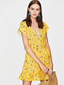 olcso Női ruhák-Női Szabadság Alap Vékony Bodycon Ruha - Fűzős Térd feletti V-alakú / Fodrozott / Virágos / Sexy