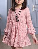 Χαμηλού Κόστους Φορέματα για κορίτσια-Παιδιά Κοριτσίστικα Ενεργό Γλυκός Καθημερινά Εξόδου Dusty Rose Μονόχρωμο Δαντέλα Μακρυμάνικο Φόρεμα Ρουμπίνι