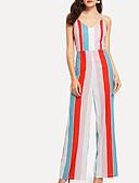 Χαμηλού Κόστους Μακριά Φορέματα-Γυναικεία Καθημερινά Δένει στο Λαιμό Ουράνιο Τόξο Φόρμες Ολόσωμη φόρμα, Ριγέ Τ M L Μακρυμάνικο