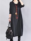 baratos Vestidos Casuais-Mulheres Básico Solto Túnicas Vestido Sólido Médio Preto