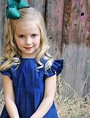 baratos Vestidos para Bebês-bebê Para Meninas Activo / Moda de Rua Diário / Feriado Sólido Manga Curta Acima do Joelho Vestido Azul / Bébé