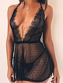 Χαμηλού Κόστους Ρόμπα-Γυναικεία Δαντέλα / Δίχτυ Sexy Μπέιμπι-ντολ & Σλιπ Πυτζάμες Μονόχρωμο / Πουά Μαύρο Τ M L