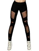 ราคาถูก เลกกิ้ง-ชุดเต้นละติน แกะสลัก / เสื้อรัดรูป สำหรับผู้หญิง การฝึกอบรม / Performance ยางยืด / Charmeuse ข้อต่อ สูง กางเกง