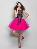 זול שמלות לילדות פרחים-גזרת A עם תכשיטים קצר \ מיני טול / נצנצים בלוק צבע מסיבת קוקטייל שמלה עם חרוזים / נצנצים על ידי