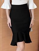 olcso Női szoknyák-Női Bodycon / Sellő fazon Pamut Szoknyák - Egyszínű Fekete L XL XXL