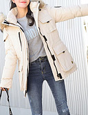 olcso Női hosszú kabátok és parkák-Női Napi Alap Egyszínű Szokványos Kosaras, Poliészter Hosszú ujj Kapucni Fekete / Fehér / Arcpír rózsaszín M / L / XL