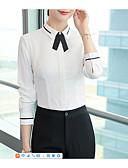 Χαμηλού Κόστους Επαγγελματικά Φορέματα-Γυναικεία Μεγάλα Μεγέθη Πουκάμισο Δουλειά Βασικό Μονόχρωμο Κολάρο Πουκαμίσου Φιόγκος / Patchwork Μπεζ