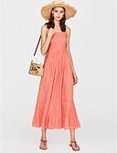 povoljno Print Dresses-Žene Party Pamuk Sirena kroj Haljina - Osnovni, Jednobojni S naramenicama Maxi Visoki struk / Otvorena leđa