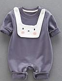 זול שמלות לתינוקות-מקשה אחת One-pieces כותנה חצי שרוול אחיד וינטאג' בנות תִינוֹק / פעוטות