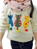 olcso Lány ruhák-Gyerekek Lány Alap Napi Cica Egyszínű Nyomtatott Hosszú ujj Szokványos Pulóver és kardigán Fehér