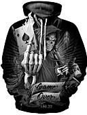 olcso Férfi pólók és pulóverek-Férfi Extra méret Punk & Gótikus / Túlzott Hosszú ujj Kapucnis felsőrész - Nyomtatott, Mértani Kerek / Ősz