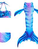 povoljno Kupaći za djevojčice-Djeca Djevojčice Aktivan Slatka Style Rep sirene Color block Bez rukávů Kupaći kostim Plava