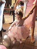 お買い得  赤ちゃん ドレス-赤ちゃん 女の子 活発的 / ベーシック 日常 / 祝日 ソリッド スパンコール / リボン / メッシュ 長袖 ミディ ドレス ピンク / レースアップ / 幼児