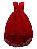 baratos Vestidos para Meninas-Infantil Para Meninas Doce Estilo bonito Festa Feriado Sólido Sem Manga Altura dos Joelhos Assimétrico Vestido Vermelho / Algodão