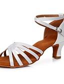 זול מכנסיים לנשים-בגדי ריקוד נשים נעלי ריקוד סטן נעליים לטיניות אבזם סנדלים / עקבים עקב קובני מותאם אישית לבן / הצגה