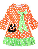 cheap Girls' Dresses-Baby Girls' Active / Basic Holiday Polka Dot / Halloween Lace Long Sleeve Above Knee Cotton Dress Orange / Toddler