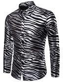 baratos Camisas Masculinas-Homens Camisa Social - Festa / Bandagem Luxo / Básico Listrado Preto / Manga Longa