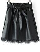 ราคาถูก กระโปรงผู้หญิง-สำหรับผู้หญิง รูปตัว เอ พื้นฐาน ขนาดเล็ก กระโปรง - สีพื้น สีดำ S M L