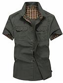 baratos Camisas Masculinas-Homens Camisa Social Sólido Verde Tropa / Manga Curta