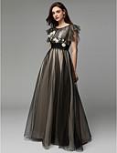 ราคาถูก Special Occasion Dresses-A-line คอซอง ลากพื้น Tulle ทางการ แต่งตัว กับ เข็มกลัด / ลายปัก โดย TS Couture®