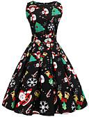 olcso Női ruhák-Női Vintage Alap Swing Ruha - Nyomtatott, Absztrakt Hópehely Térdig érő Mikulás