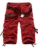 ราคาถูก กางเกงผู้ชาย-สำหรับผู้ชาย พื้นฐาน / Military ทุกวัน กางเกงขาสั้น / Cargo Pants กางเกง - สีพื้น ไวน์ อาร์มี่ กรีน สีกากี 34 36 38
