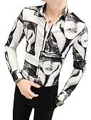 ราคาถูก เสื้อเชิ้ตผู้ชาย-สำหรับผู้ชาย เชิร์ต วินเทจ ปกคลาสสิค เพรียวบาง Portrait สีดำ / แขนยาว / ตก