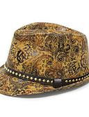 זול כובעים לגברים-שחור כתום צהוב כובע עם שוליים רחבים דפוס פוליאוריתן וינטאג' בגדי ריקוד גברים