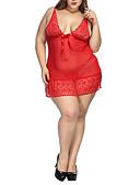 ราคาถูก เสื้อคลุมและชุดนอน-สำหรับผู้หญิง ลูกไม้ ขนาดพิเศษ เกี่ยวกับกาม สไตลตุ๊กตาเบบี้ เสื้อนอน สีพื้น / ลายพิมพ์ ทับทิม XXXXL / สาย