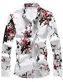 olcso Férfi pólók-Alap Vékony Férfi Extra méret Pamut Ing - Virágos, Nyomtatott Rubin / Hosszú ujj