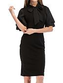 Χαμηλού Κόστους Επαγγελματικά Φορέματα-Γυναικεία Εξόδου Λεπτό Θήκη Φόρεμα - Μονόχρωμο, Με Βολάν Μίντι Μαύρο