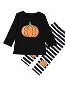 povoljno Haljinice za bebe-Dijete koje je tek prohodalo Djevojčice Osnovni Ulični šik Dnevno Praznik Crtani film Halloween Print Dugih rukava Regularna Pamuk Komplet odjeće Crn