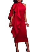 ราคาถูก ชุดเดรสปาร์ตี้-สำหรับผู้หญิง ปาร์ตี้ ไปเที่ยว เซ็กซี่ เพรียวบาง เข้ารูป แต่งตัว สีพื้น ยาวถึงเข่า ครูเน็ค Red
