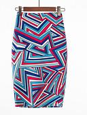 Χαμηλού Κόστους Print Dresses-Γυναικεία Εφαρμοστό Βασικό Φούστες - Γεωμετρικό / Συνδυασμός Χρωμάτων Ψηλή Μέση Βυσσινί L XL XXL