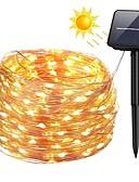 Χαμηλού Κόστους Men's Hats-zdm 100 leds 10m33ft ασημένιο σύρμα χαλκού ηλιακό φως σειρά κορνίζες υπαίθρια starry νεράιδα φώτα σειρά με 8 τρόπου αδιάβροχο για γάμο κήπο σπίτι γενέθλια πάρτι αίθριο γρασίδι δέντρα