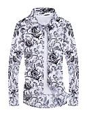 זול חולצות לגברים-גיאומטרי פעיל מידות גדולות חולצה - בגדי ריקוד גברים דפוס לבן / שרוול ארוך