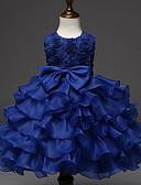 זול שמלות לבנות-שמלה עד הברך ללא שרוולים פפיון / קפלים אחיד Party / חגים פעיל / מתוק בנות ילדים